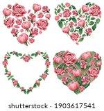 Set Of Botanical Heart Shaped...