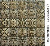 gold ornament on black. islamic ... | Shutterstock .eps vector #1903623577