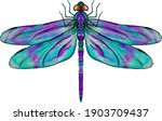 Purple And Blue Dragonfly With...