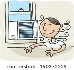 a cartoon man enjoys the breeze ... | Shutterstock .eps vector #190372259