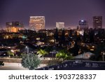 Night time view of the skyline of downtown Costa Mesa, California, USA.