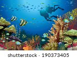 Coral reef with underwater creatures and two scuba divers. - stock vector