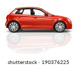 shiny red sedan studio shot. | Shutterstock . vector #190376225