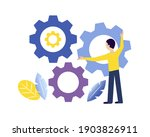 man is turning gears. working...   Shutterstock .eps vector #1903826911