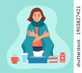 sick woman suffering from flu... | Shutterstock .eps vector #1903827421