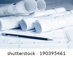 blueprints and pencil on blue... | Shutterstock . vector #190395461