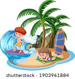children at the island isolated ... | Shutterstock .eps vector #1903961884