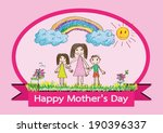 happy mothers day card with... | Shutterstock .eps vector #190396337