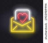 Glowing Neon Envelope With A...