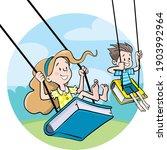children swing on swings from... | Shutterstock .eps vector #1903992964