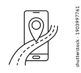 smartphone with road icon.... | Shutterstock .eps vector #1903997761