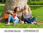 two girls having fun with her... | Shutterstock . vector #190400615