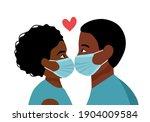 black loving couple kissing in... | Shutterstock .eps vector #1904009584