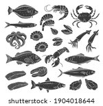 seafood glyph icon set....   Shutterstock .eps vector #1904018644