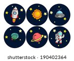 space and astronomy round icons ... | Shutterstock .eps vector #190402364
