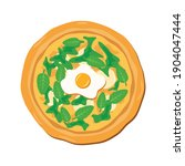 spinach pizza with egg and...   Shutterstock .eps vector #1904047444