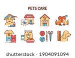 pet care color line icons set....