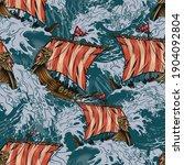viking drakkar ships colorful... | Shutterstock .eps vector #1904092804
