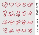 doodle hearts  hand drawn love... | Shutterstock .eps vector #1904120677