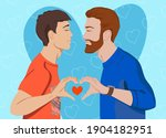 men in love kiss and fold their ...   Shutterstock .eps vector #1904182951