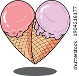 Two Pieces Of Ice Cream That...