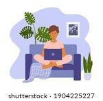 young girl working online... | Shutterstock .eps vector #1904225227