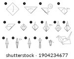 tutorial how to make origami... | Shutterstock .eps vector #1904234677