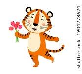 cute cartoon striped red tiger. ... | Shutterstock .eps vector #1904278624