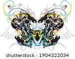 colorful floral butterfly wings ... | Shutterstock .eps vector #1904322034