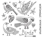 Vector Set Birds And Hearts....