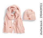 Pink Wool Ski Cable Knit Hat...