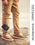 feet man and vintage retro... | Shutterstock . vector #190451201