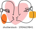 Abstract Line Art Of Kissing...