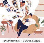 young man relaxing at home and... | Shutterstock .eps vector #1904662801