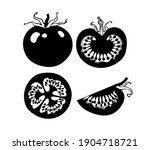vector drawing tomatoes black... | Shutterstock .eps vector #1904718721