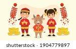 happy boy girl and cow in... | Shutterstock .eps vector #1904779897