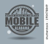 Stamp or label with text Mobile, Alabama inside, vector illustration