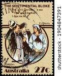 Small photo of AUSTRALIA - CIRCA 1983: a stamp printed in Australia shows Doreen the Intro, Folktale Scene from The Sentimental Bloke by C. J. Dennis, circa 1983