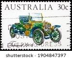 Small photo of AUSTRALIA - CIRCA 1984: a stamp printed in Australia shows Tarrant 1906, Australian-made vintage car, circa 1984