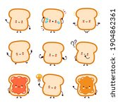 cute funny happy bread toast... | Shutterstock .eps vector #1904862361