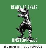 Dinosaur Skateboarding Vector...