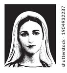 Virgin Mary Face Illustration ...