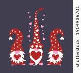 cute three valentine gnomes... | Shutterstock .eps vector #1904936701