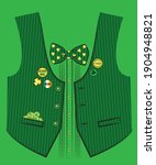 vest with bow tie and coins in... | Shutterstock .eps vector #1904948821