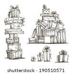 piles of presents. doodle heaps ... | Shutterstock .eps vector #190510571
