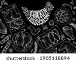chicken meat. grilled and fried ... | Shutterstock .eps vector #1905118894