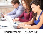 group of students using a...   Shutterstock . vector #190525331
