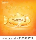 fish oil drop gold  vitamin d... | Shutterstock .eps vector #1905315391