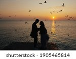 Silhouette Of A Loving Couple...