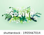 floral spring design with white ... | Shutterstock .eps vector #1905467014